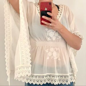 Zara Embroidered Lace Boho Hippie Retro Top Blouse